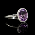 .13ct Diamond and Purple Amethyst 14k White Gold Ring