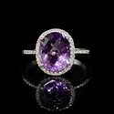 Diamond and Purple Amethyst 14k White Gold Ring
