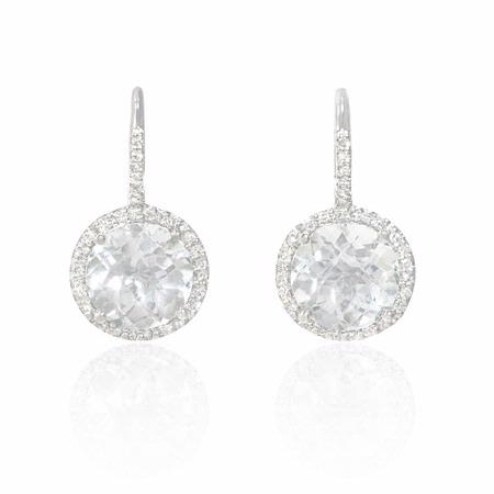 Diamond and White Topaz 14k White Gold Dangle Earrings