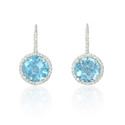 Diamond and Blue Topaz 14k White Gold Halo Dangle Earrings