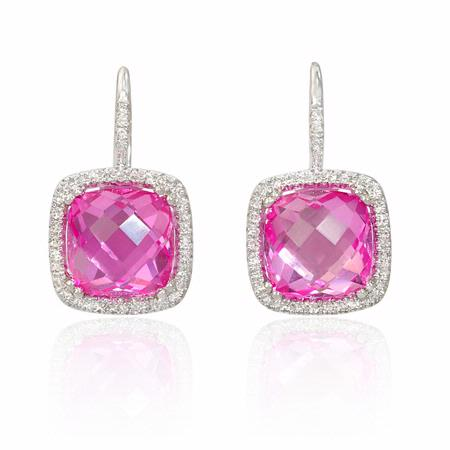.17ct Diamond and Pink Quartz 14k White Gold Halo Cushion Dangle Earrings