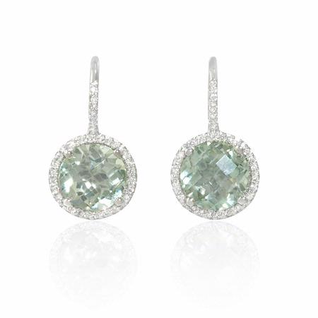 Diamond and Green Amethyst 14k White Gold Halo Dangle Earrings