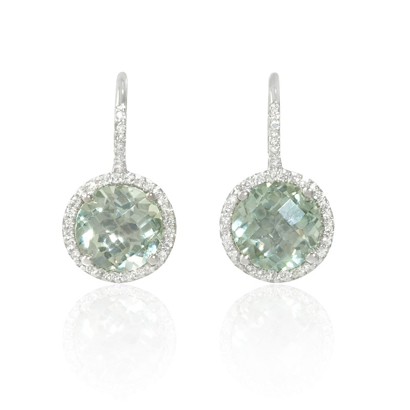 15ct diamond and green amethyst 14k white gold halo
