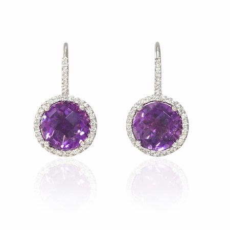 Diamond and Purple Amethyst 14k White Gold Dangle Earrings