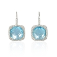 .14ct Diamond and Blue Topaz 14k White Gold Halo Dangle Earrings