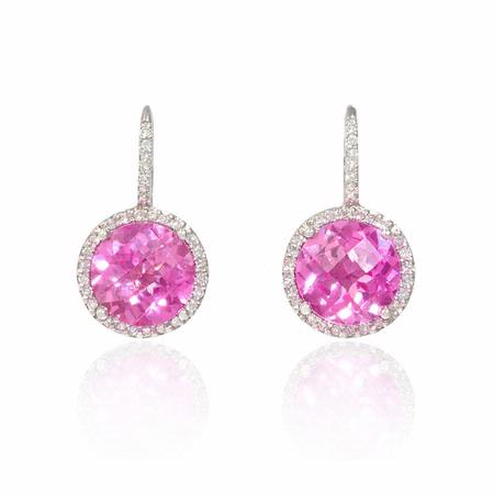 Diamond and Pink Amethyst 14k White Gold Halo Dangle Earrings