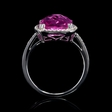 .10ct Diamond and Pink Quartz 14k White Gold Ring