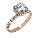 Simon G Diamond 18k Rose Gold Halo Engagement Ring Setting