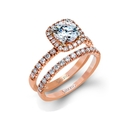 Simon G Diamond 18k Rose Gold Engagement Ring Setting and Wedding Band Set