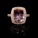 Diamond and Morganite 14k Rose Gold Ring
