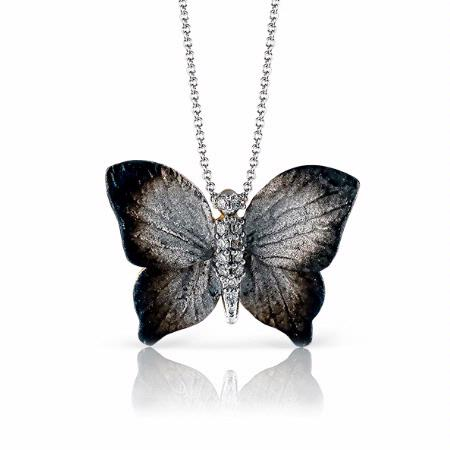 Simon G Diamond 18k White Gold Butterfly Pendant Necklace