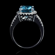 1.09ct Diamond and Aquamarine 18k White Gold Ring