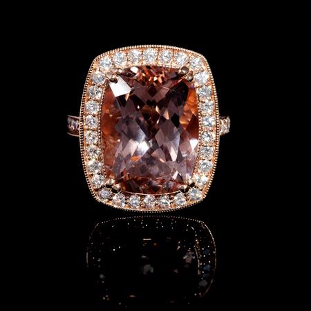 Diamond and Morganite Antique Style 14k Rose Gold Ring