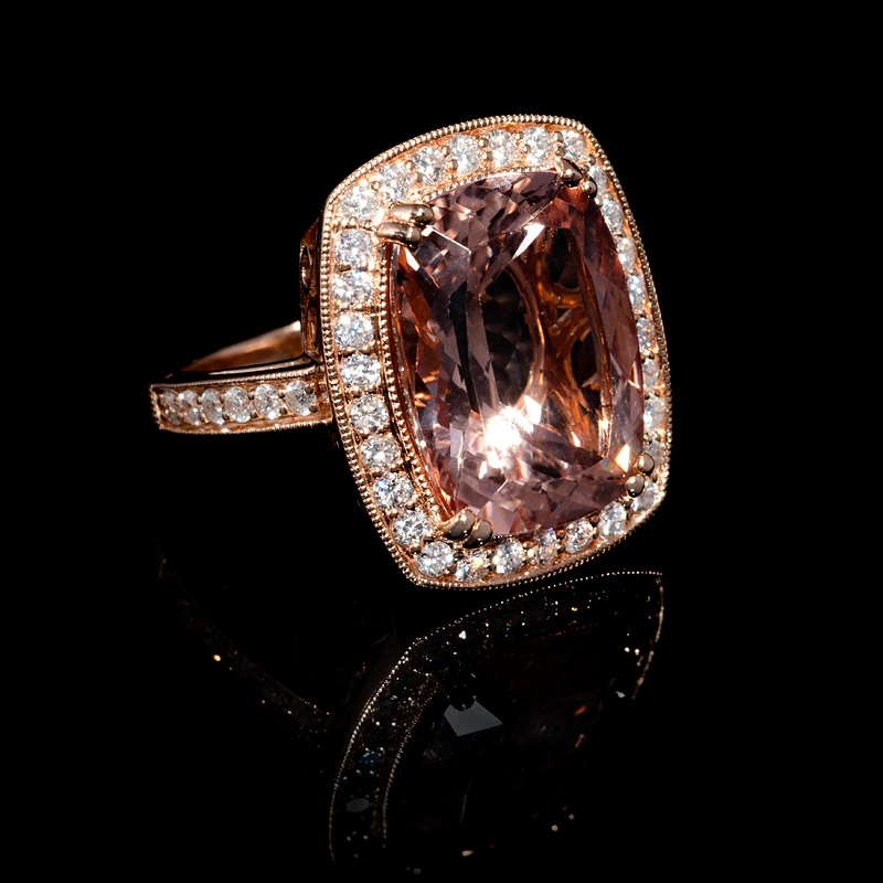 89ct and morganite antique style 14k gold ring