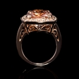 .89ct Diamond and Morganite Antique Style 14k Rose Gold Ring