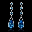 .72ct Diamond and Blue Topaz 18k White Gold Dangle Earrings