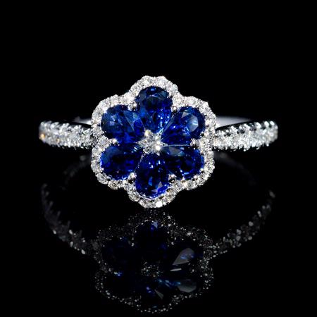 Diamond and Pear Shaped Blue Sapphire 18k White Gold Flower Ring