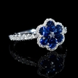 .37ct Diamond and Pear Shaped Blue Sapphire 18k White Gold Flower Ring