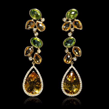 Diamond, Peridot and Citrine 18k Yellow Gold Dangle Earrings