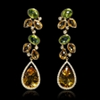 .59ct Diamond, Peridot and Citrine 18k Yellow Gold Dangle Earrings