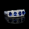 .51ct Diamond and Blue Oval Sapphire 18k White Gold Ring