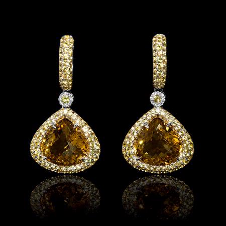 Diamond, Yellow Sapphire and Citrine 18k White Gold Dangle Earrings