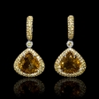.07ct Diamond, Yellow Sapphire and Citrine 18k White Gold Dangle Earrings