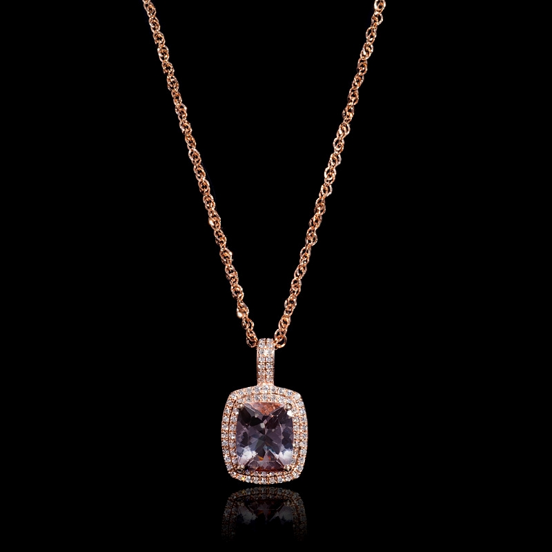 gold necklace wrought a bezel jewelry metalicious rose product fine morganite handmade