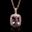 .45ct Diamond and Morganite 14k Rose Gold Pendant Necklace