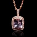 Diamond and Morganite 14k Rose Gold Pendant Necklace