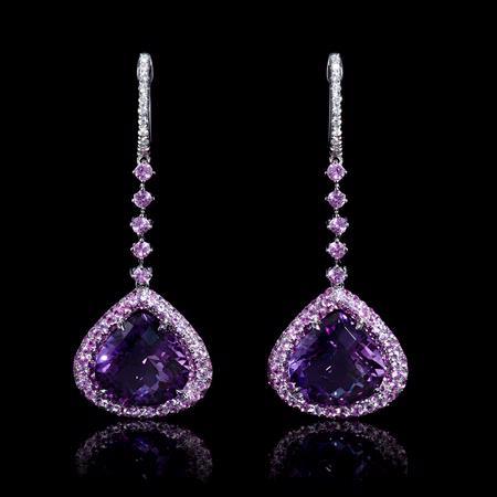 19ct Diamond Pink Shire And Purple Amethyst 18k White Gold Dangle Earrings