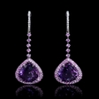 .19ct Diamond, Pink Sapphire and Purple Amethyst 18k White Gold Dangle Earrings