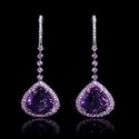 Diamond, Pink Sapphire and Purple Amethyst 18k White Gold Dangle Earrings