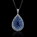 Diamond and Blue Sapphire 18k White Gold and Black Rhodium Pendant
