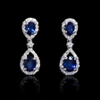 .46ct Diamond and Blue Sapphire 18k White Gold Dangle Earrings