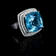 .95ct Diamond and Blue Topaz 18k White Gold Ring