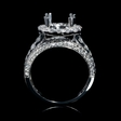 1.64ct Diamond 18k White Gold Halo Engagement Ring Setting