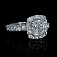 1.22ct Diamond Antique Style 18k White Gold Halo Engagement Ring Setting