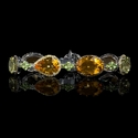 Diamond, Yellow Sapphire, Peridot, Green Quartz and Citrine 18k White Gold and Black Rhodium Bracelet