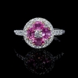 .33ct Diamond and Oval Cut Pink Sapphire Antique Style 18k Two Tone Gold Flower Ring
