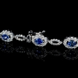 1.30ct Diamond and Oval Cut Blue Sapphire 18k White Gold Bracelet
