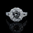 1.23ct Diamond 18k White Gold Split Shank Halo Engagement Ring Setting