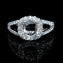 Diamond Platinum Split Shank Halo Engagement Ring Setting