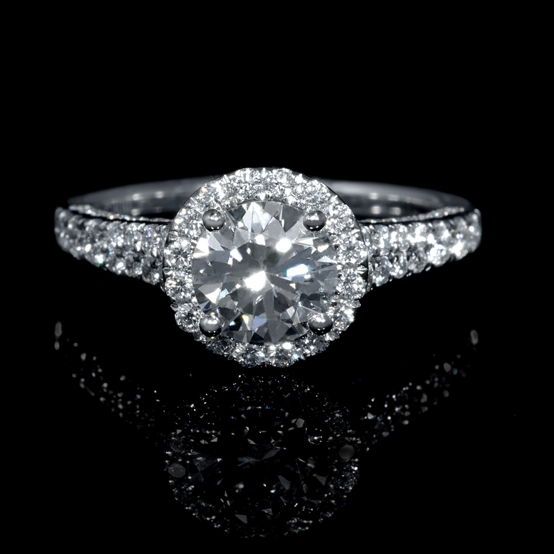 62ct platinum halo engagement ring setting