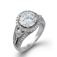 1.18ct Simon G Diamond 18k White Gold Halo Engagement Ring Setting