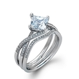.23ct Simon G Diamond 18k White Gold Engagement Ring Setting and Wedding Band Set