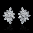 4.19ct Diamond 18k White Gold Cluster Earrings