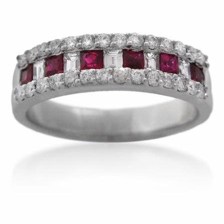 Diamond and Ruby 18k White Gold Wedding Band Ring