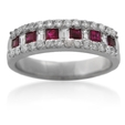 .66ct Diamond and Ruby 18k White Gold Wedding Band Ring