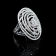 3.18ct Diamond 18k White Gold Oval Shaped Swirl Ring